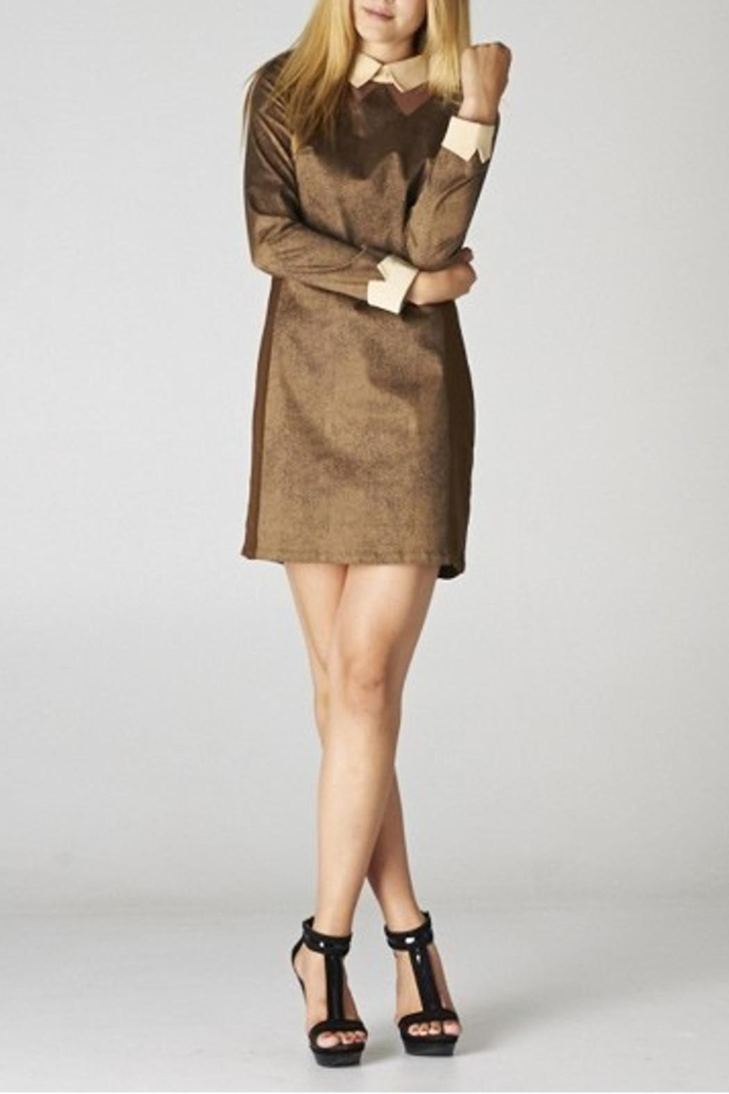 Esley Collar Brown Dress - Front Full Image