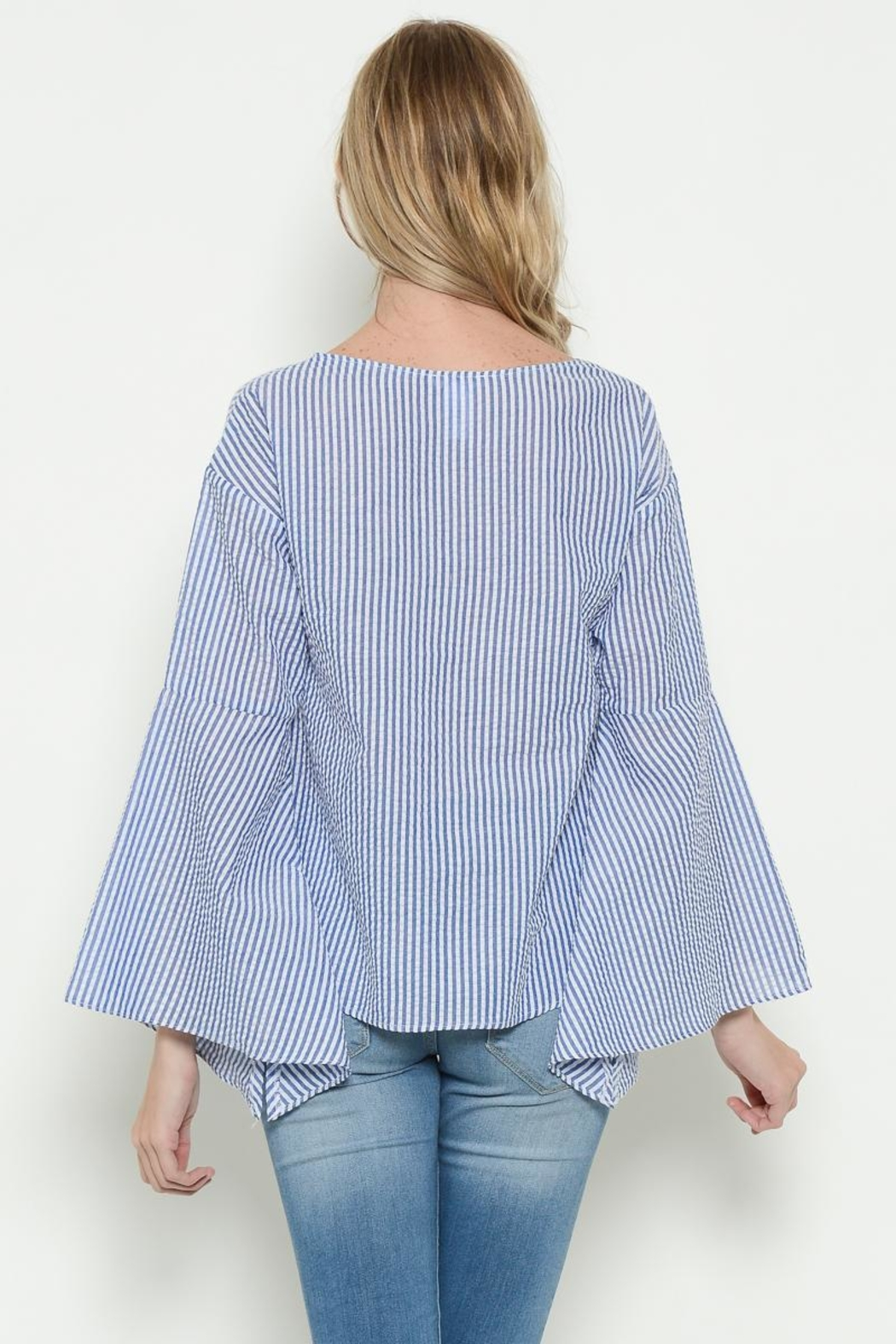 Esley Blue Bell Sleeve Top - Front Full Image
