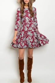 Esley Burgundy Floral Dress - Product Mini Image