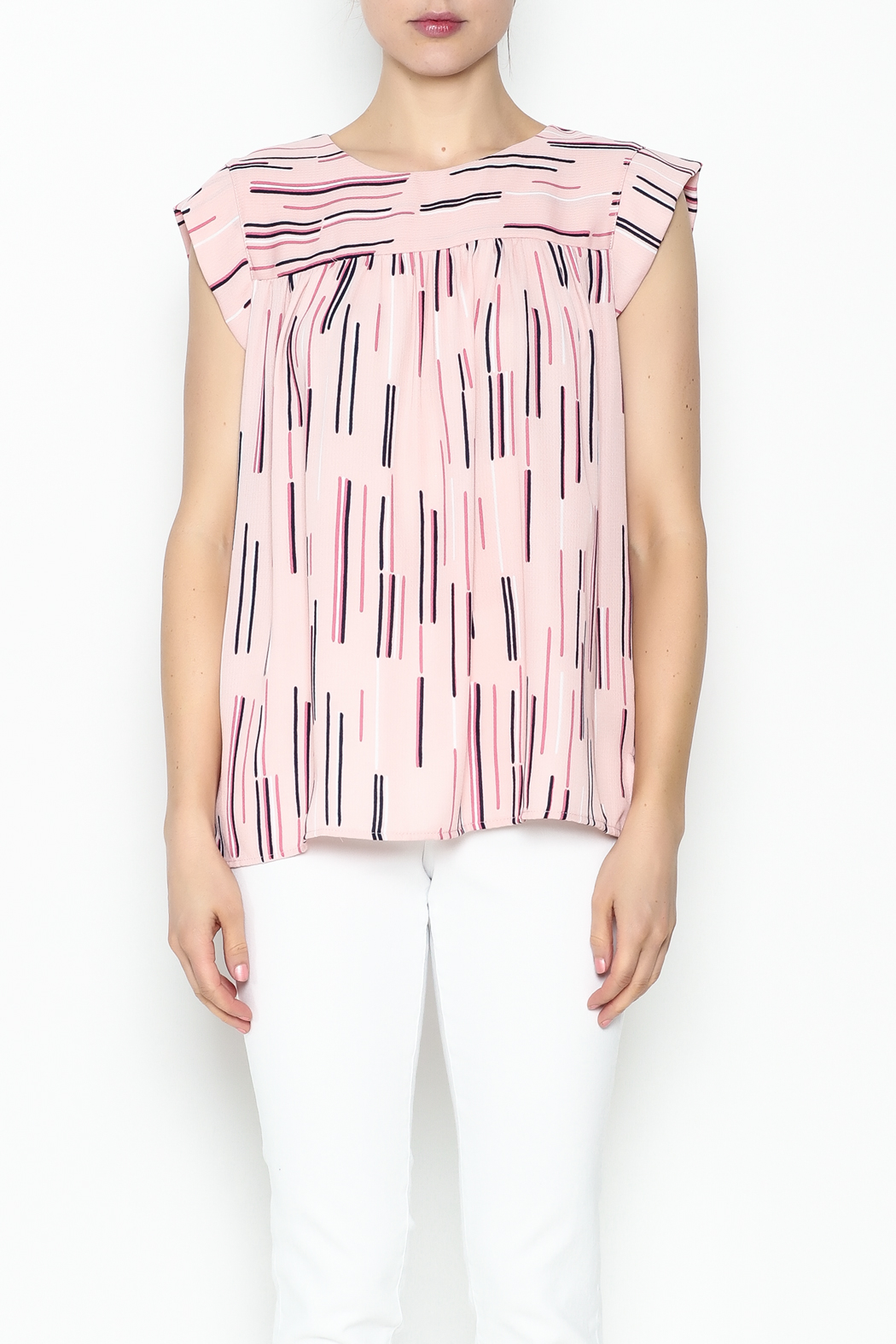 Esley Collection Print Sleeveless Top - Front Full Image