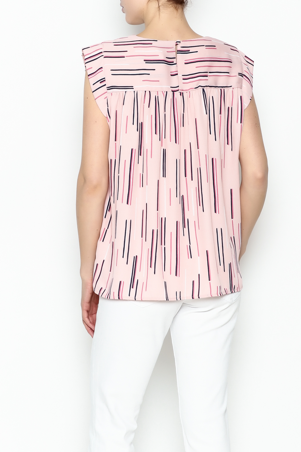 Esley Collection Print Sleeveless Top - Back Cropped Image