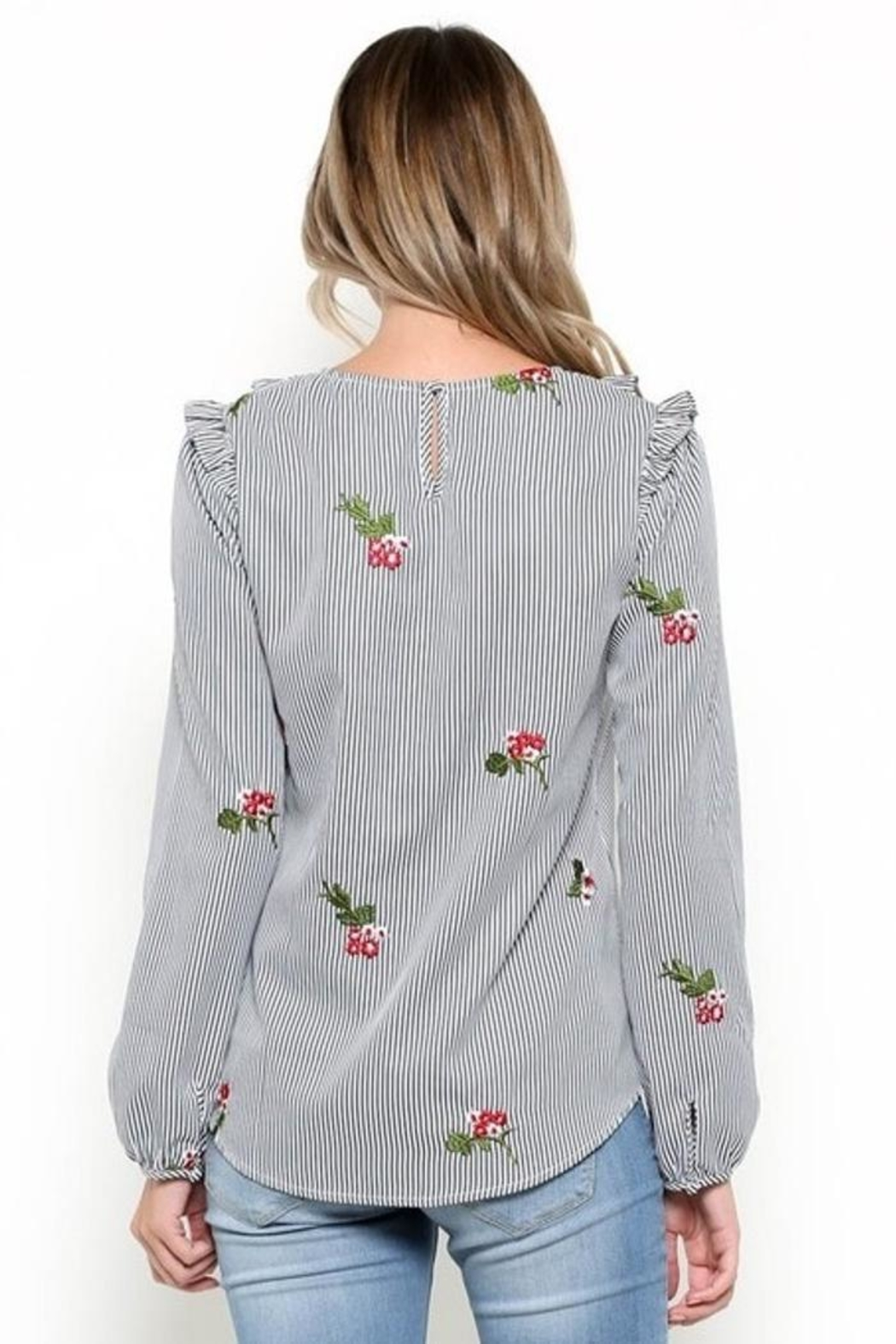 Esley Embroidered Bib Top - Side Cropped Image