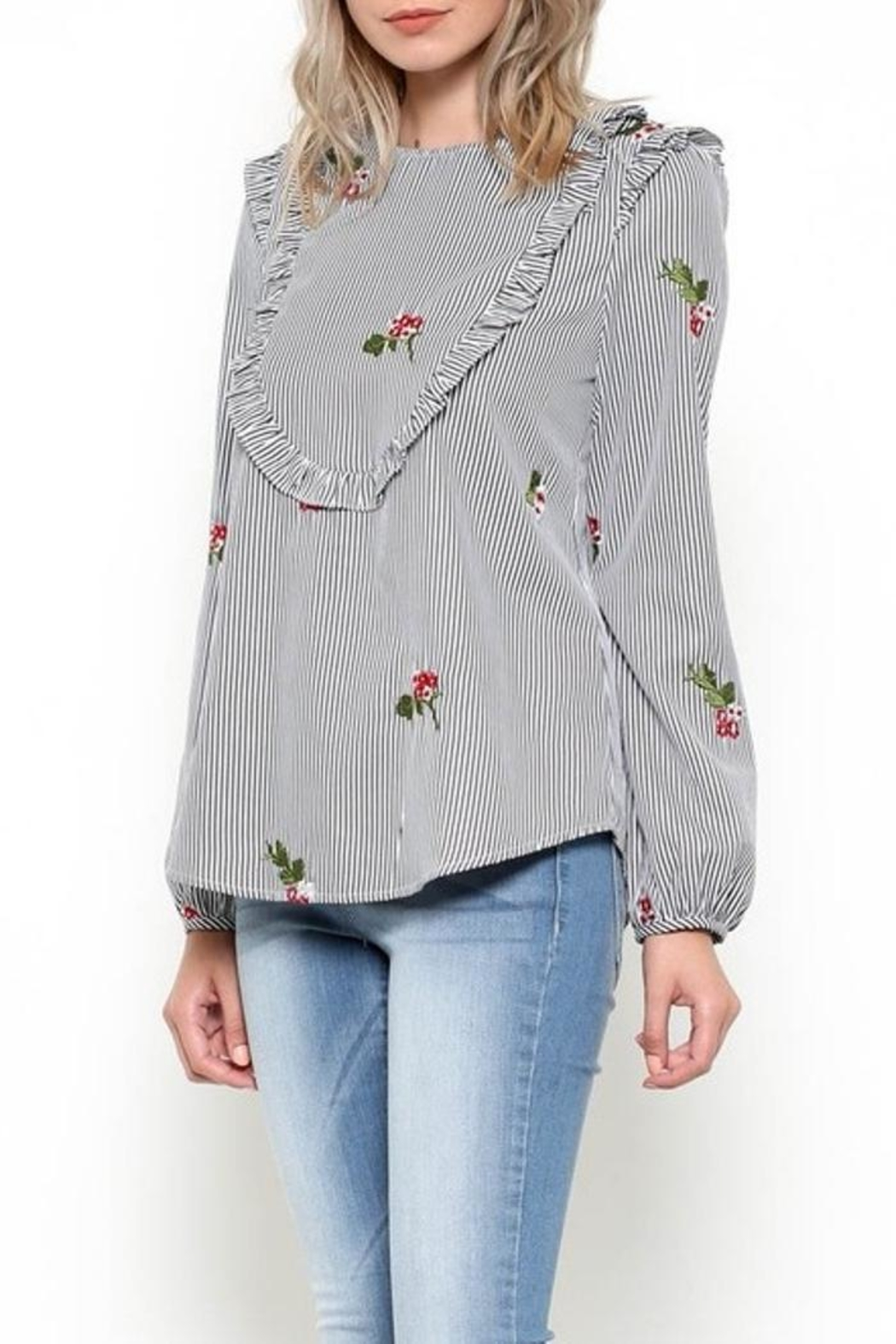 Esley Embroidered Bib Top - Main Image