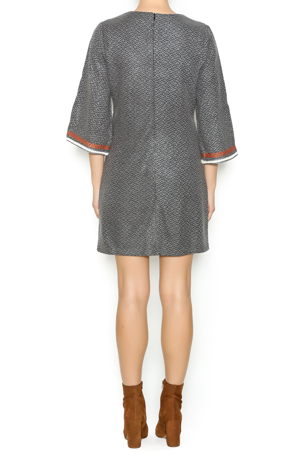 Esley Embroidered Knit Dress - Side Cropped Image