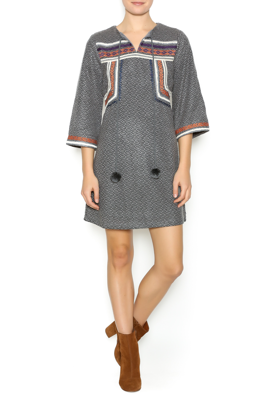 Esley Embroidered Knit Dress - Front Full Image