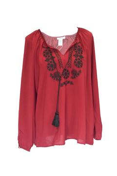 Shoptiques Product: Embroidered Tassel Top