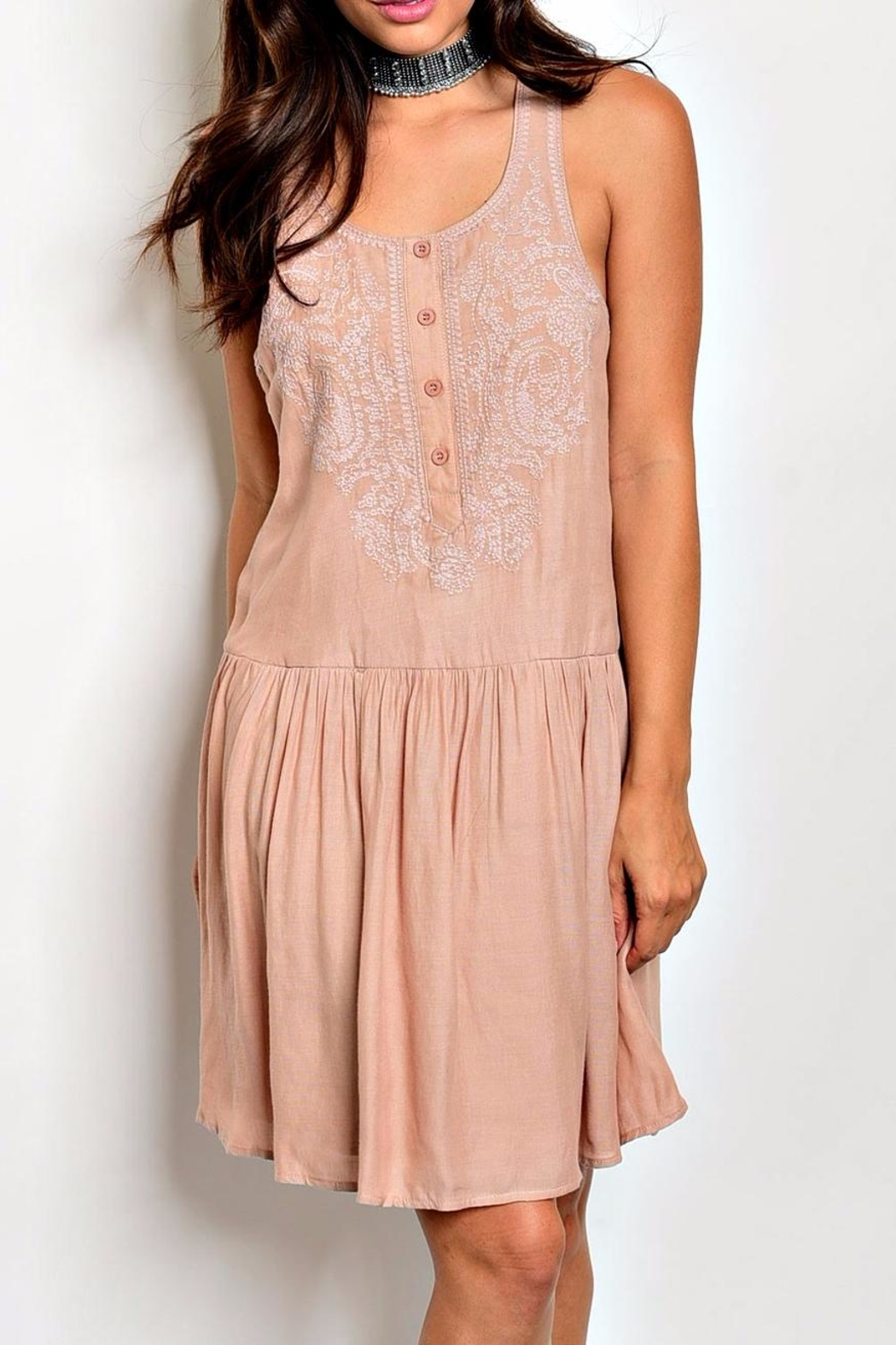 Esley Embroidered Tunic Dress - Main Image