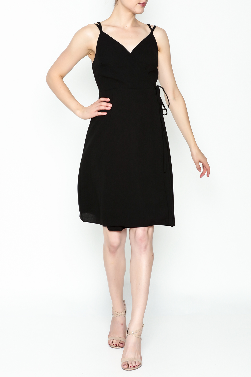 Esley Faux Wrap Dress - Side Cropped Image