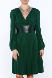 Esley Forest Green Knee Dress - Product Mini Image
