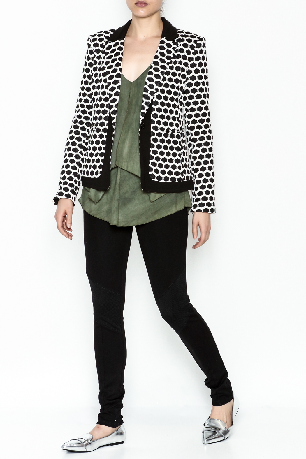 Esley Honeycomb Blazer - Side Cropped Image
