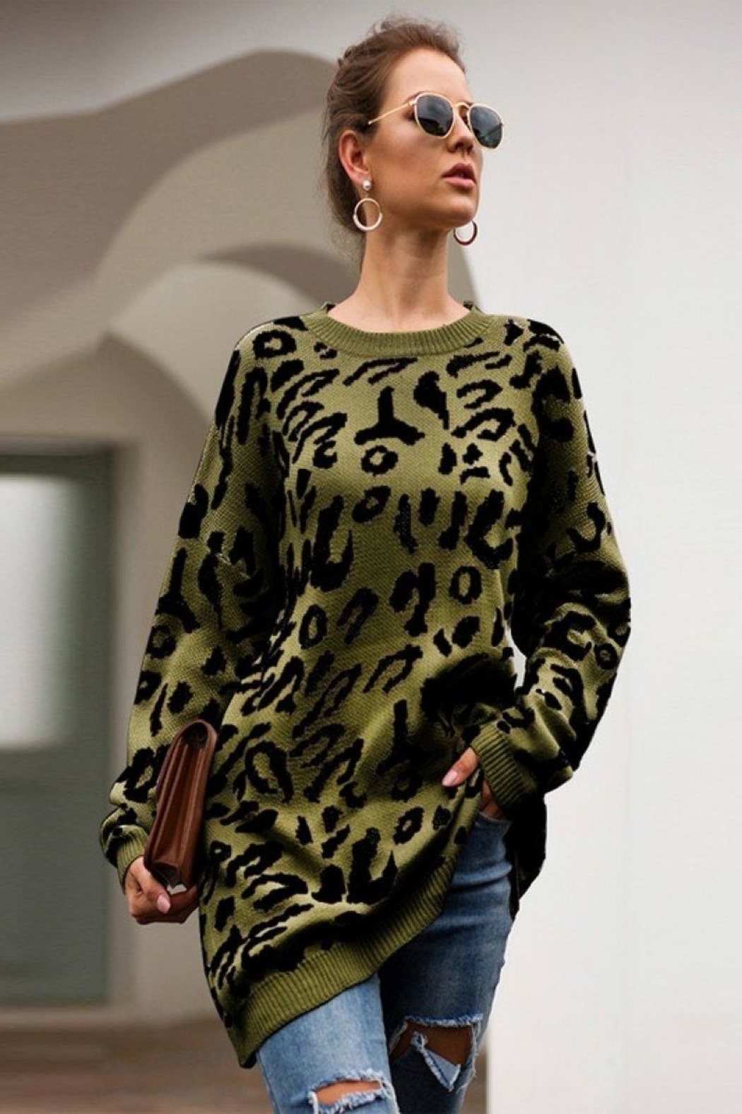 Esley Leopard Oversized Sweater - Main Image