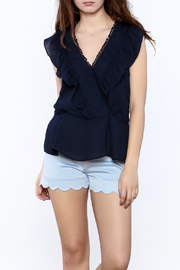Esley Navy V-Neck Top - Product Mini Image