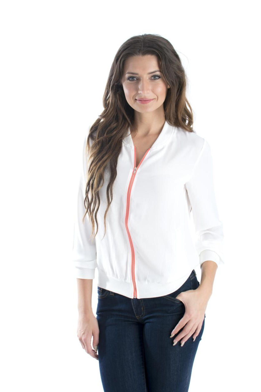 Esley Neon Zipper Jacket - Front Cropped Image