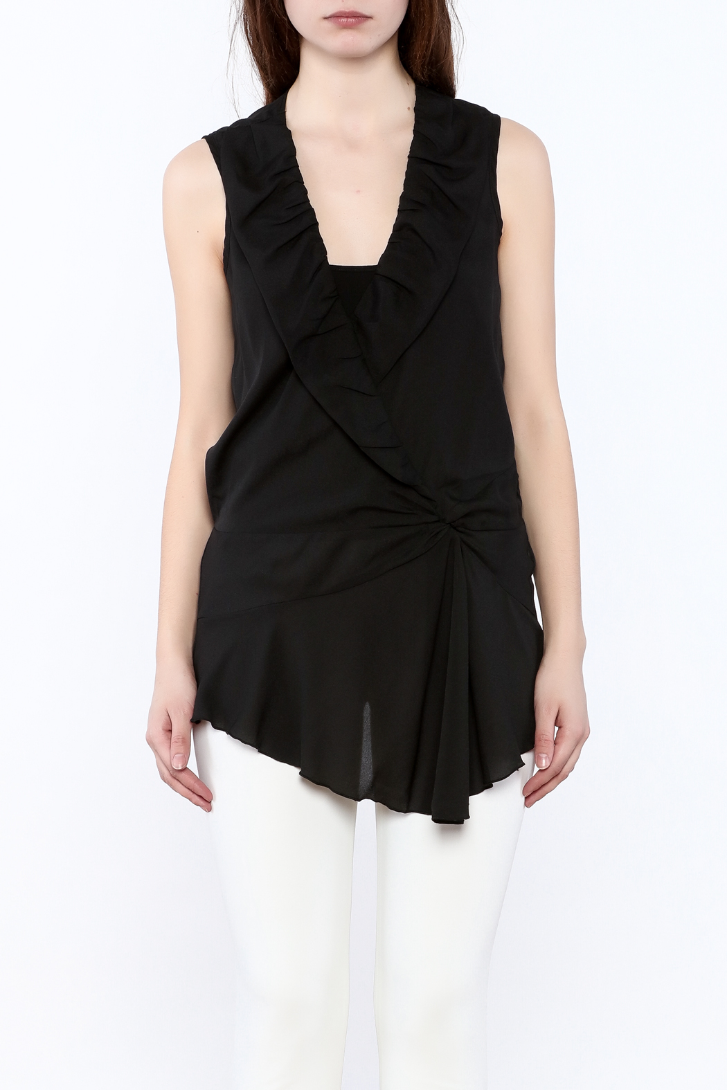 Esley Black Surplice Tunic Top - Side Cropped Image