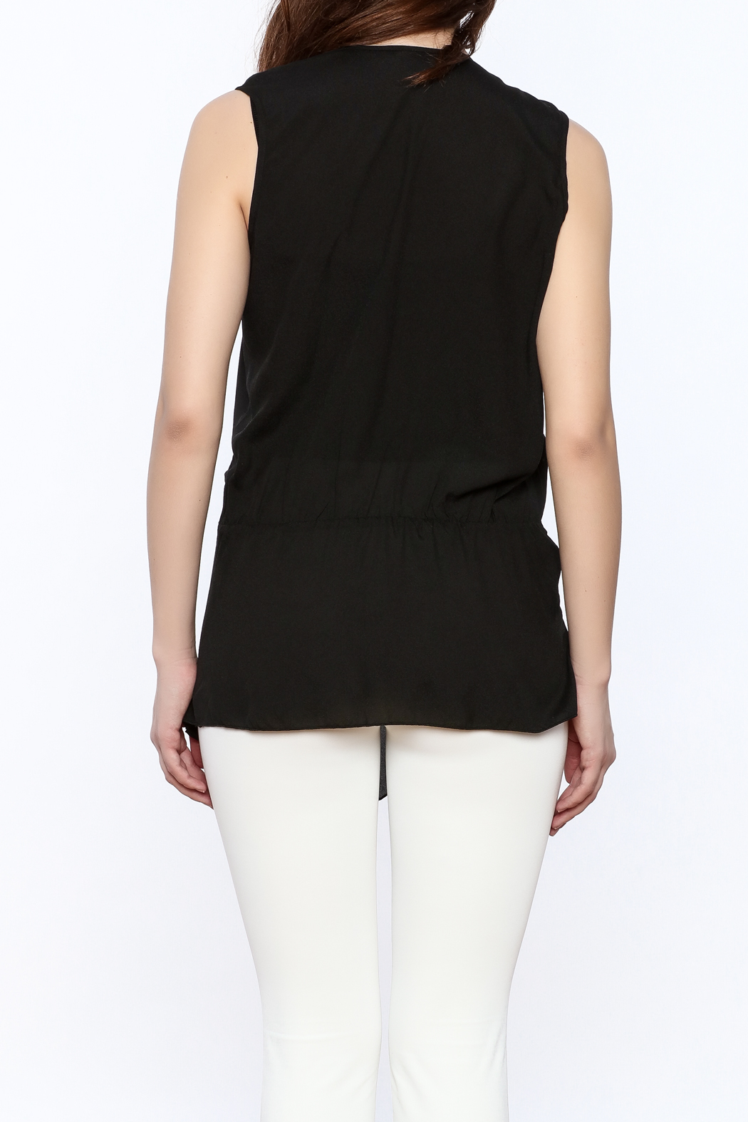 Esley Black Surplice Tunic Top - Back Cropped Image