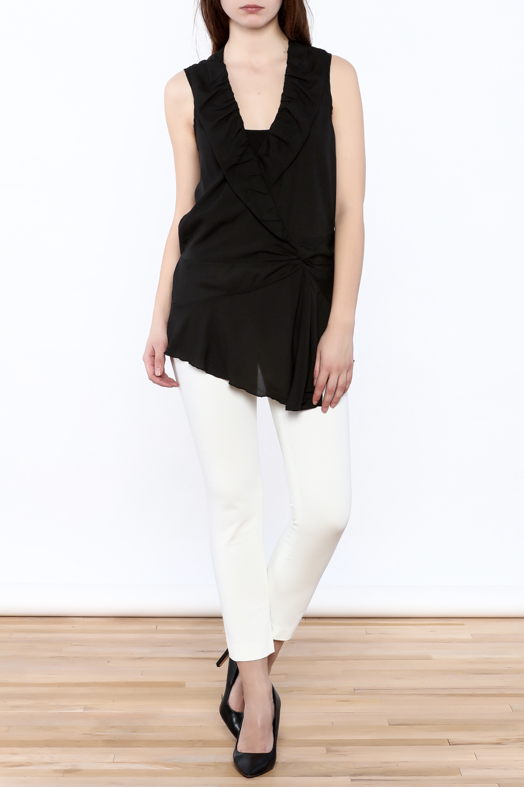 Esley Black Surplice Tunic Top - Front Full Image