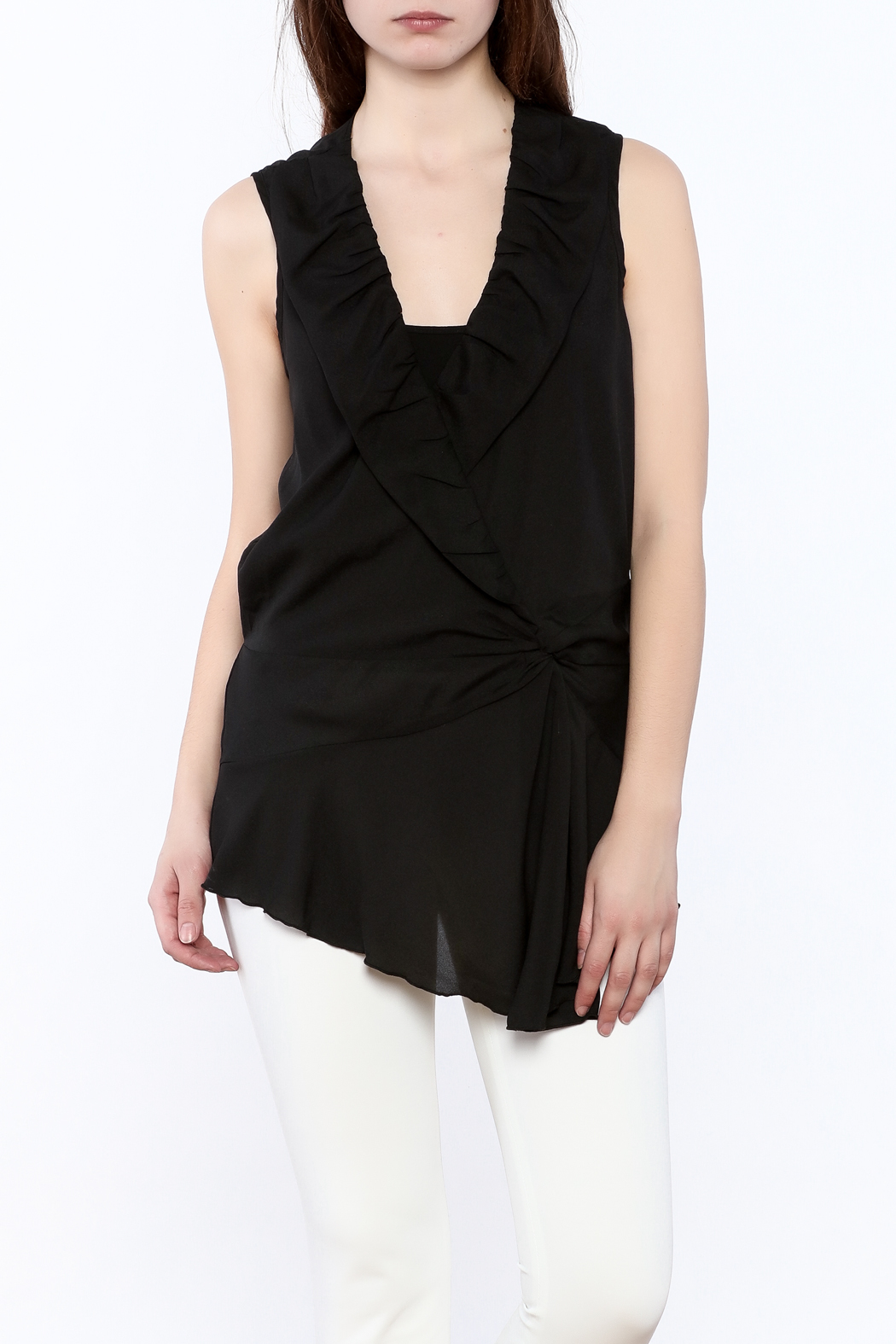 Esley Black Surplice Tunic Top - Front Cropped Image