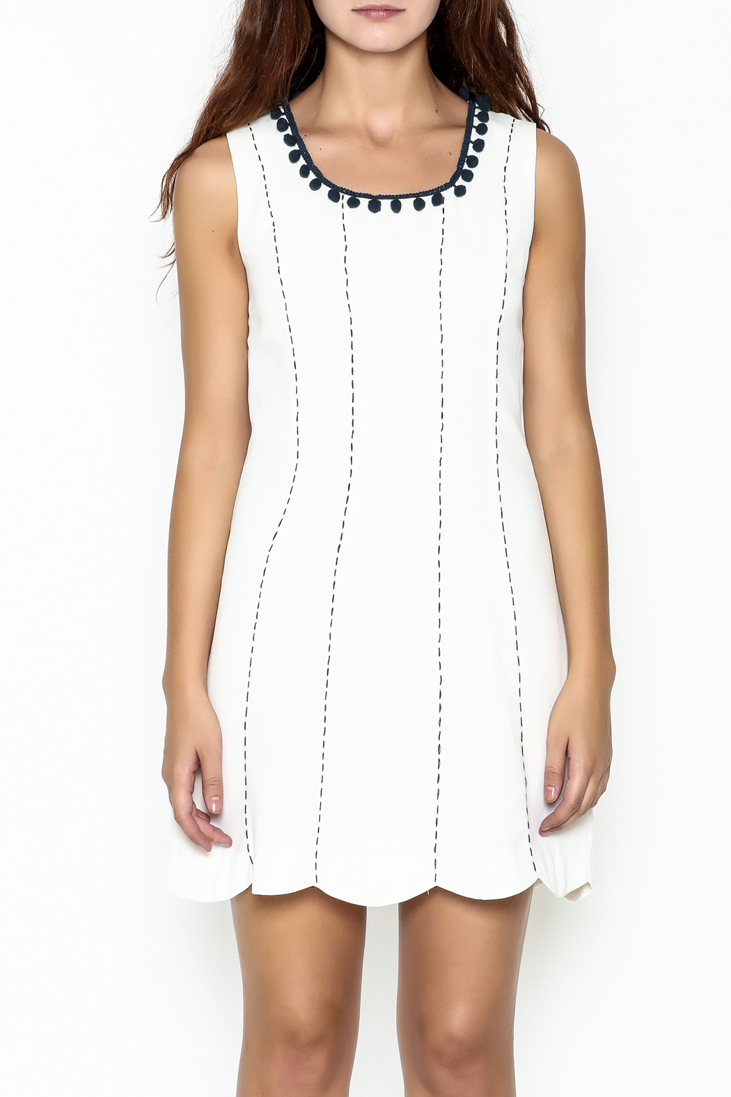 Esley Pretty Navy Details Dress - Front Full Image