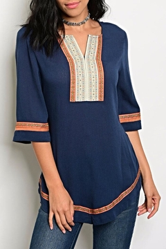 Esley Rust Navy Blouse - Product List Image