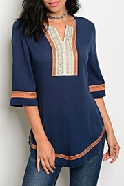 Esley Rust Navy Blouse - Product Mini Image