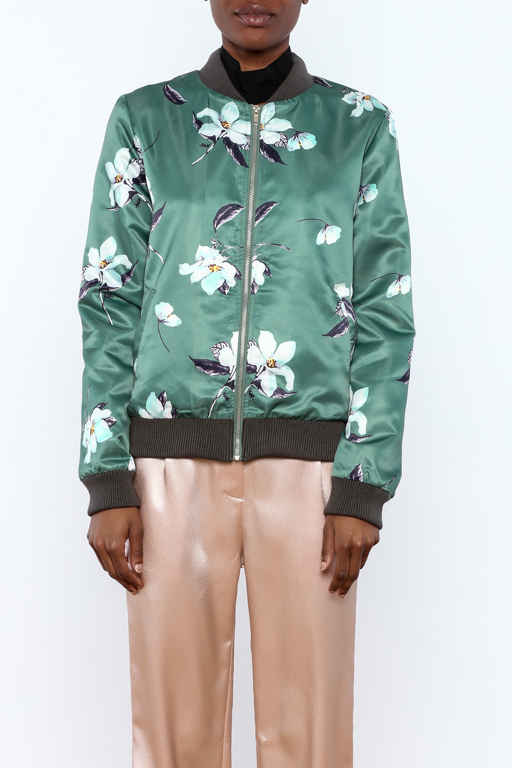 Esley Sage Floral Bomber Jacket - Side Cropped Image