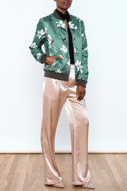 Esley Sage Floral Bomber Jacket - Front full body