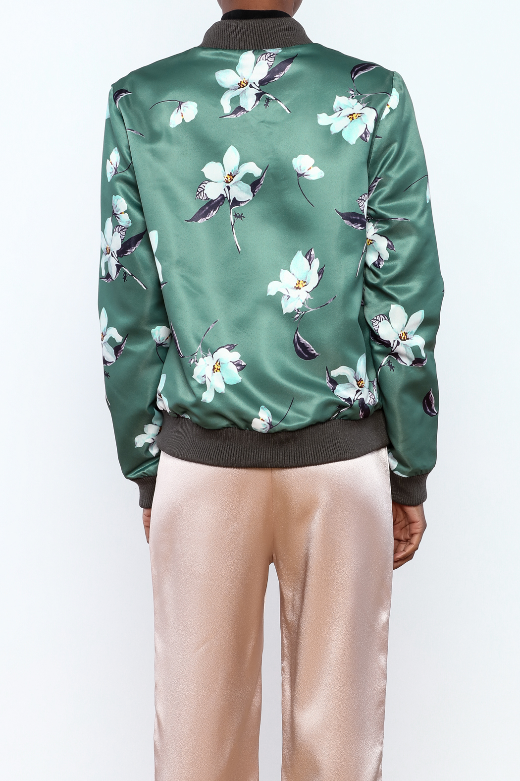 Esley Sage Floral Bomber Jacket - Back Cropped Image