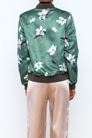Esley Sage Floral Bomber Jacket - Back cropped