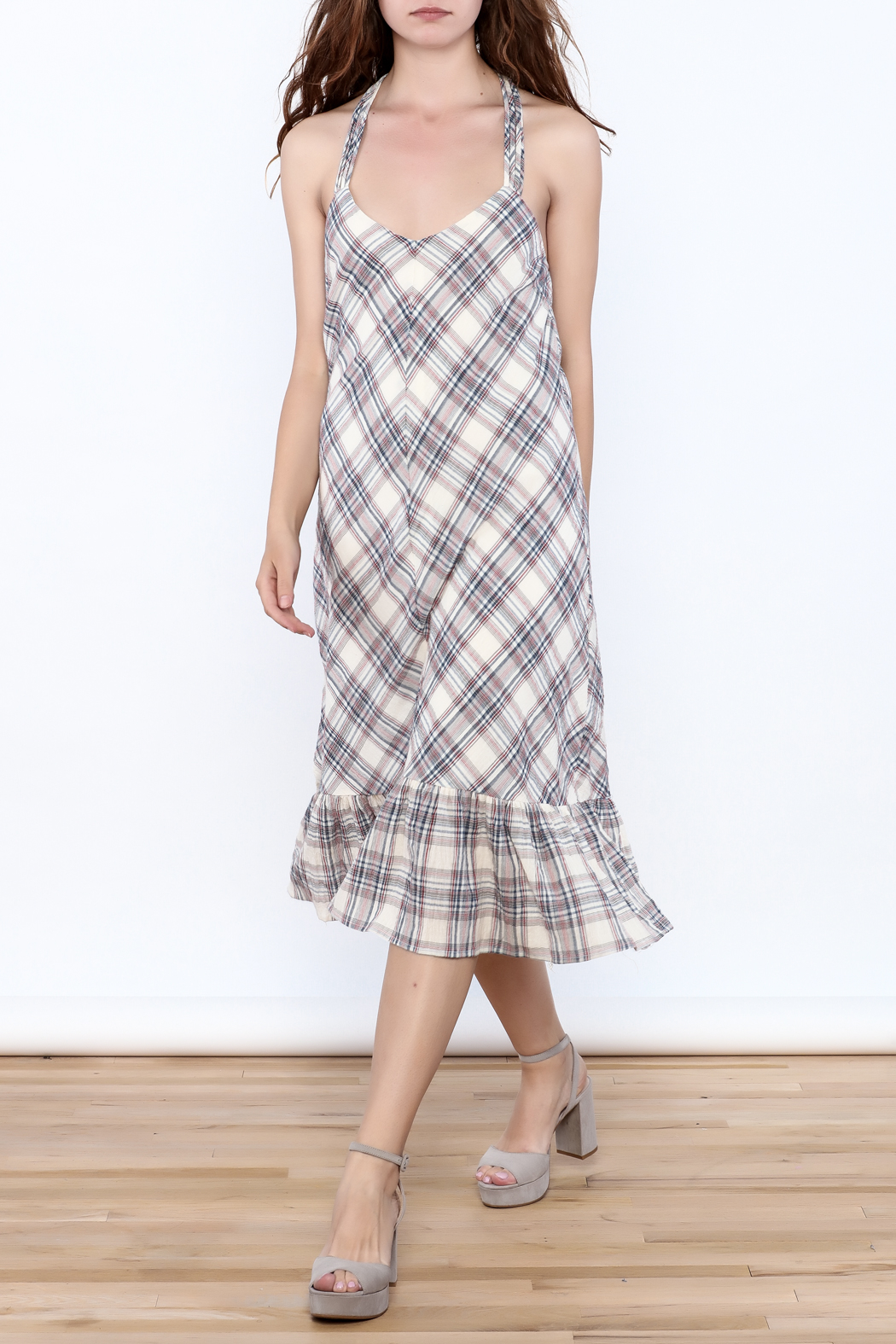 Esley Tartan Plain Dress - Main Image