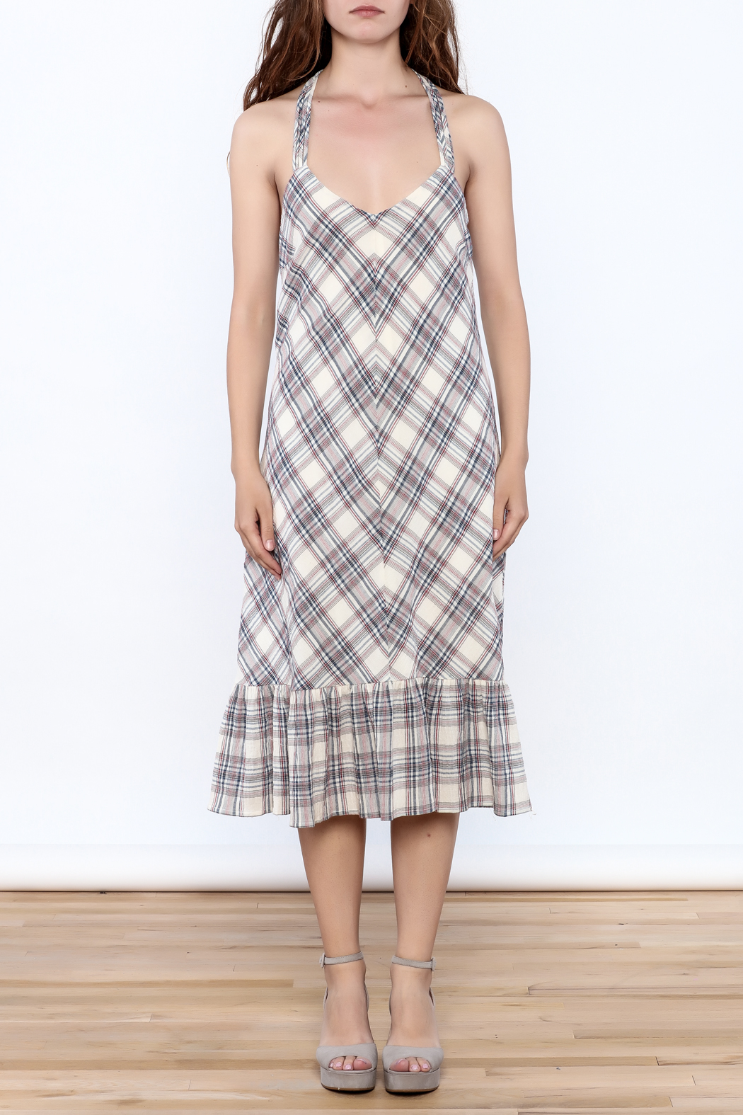 Esley Tartan Plain Dress - Front Cropped Image