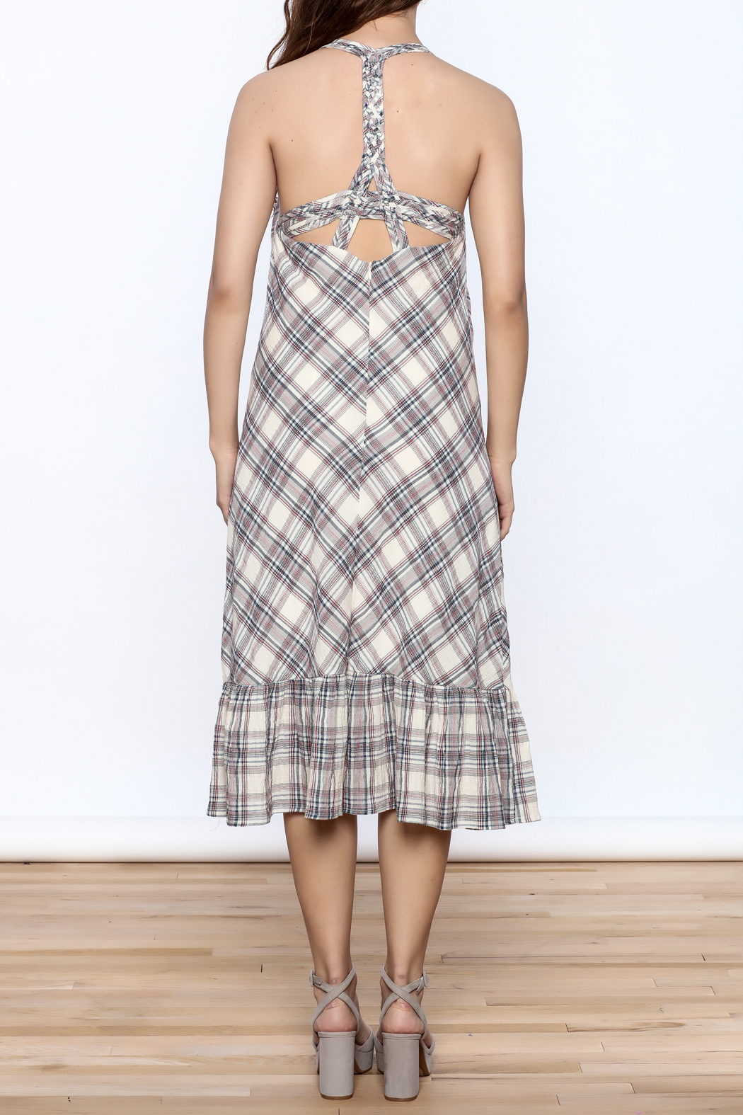 Esley Tartan Plain Dress - Back Cropped Image