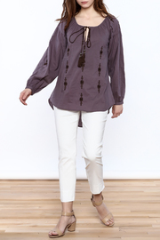 Esley Purple Long Sleeve Top - Front full body