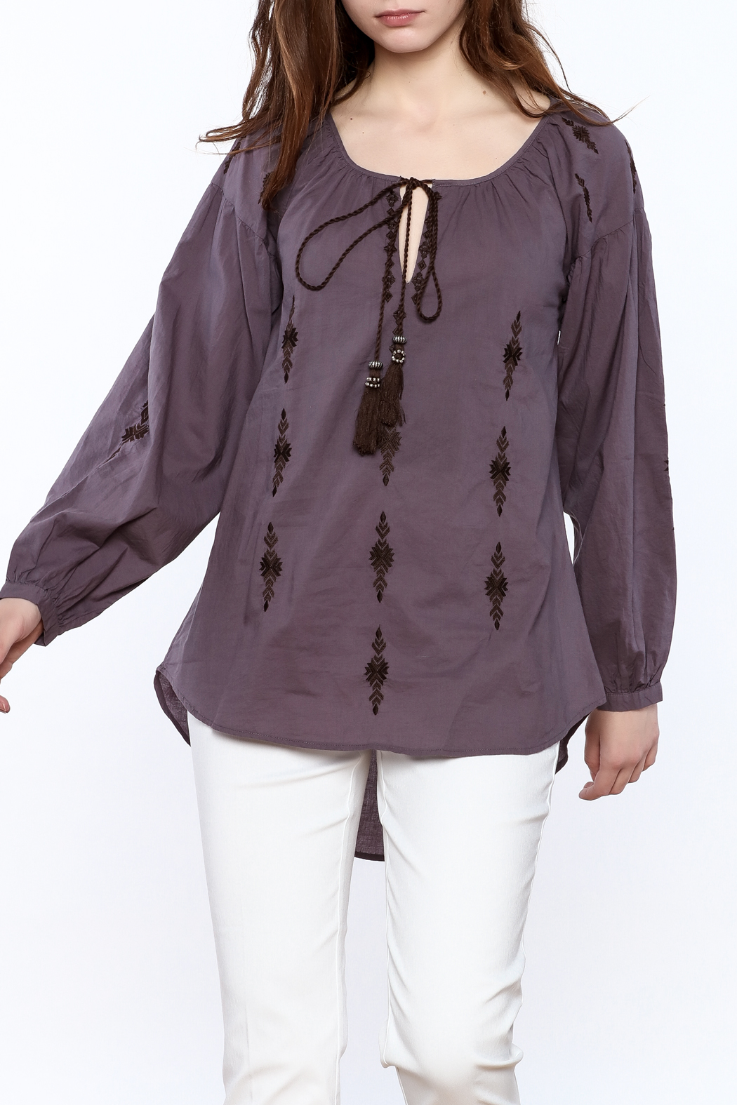 Esley Purple Long Sleeve Top - Front Cropped Image