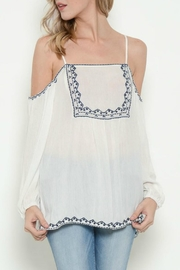 Esley White Cold Shoulder Top - Product Mini Image