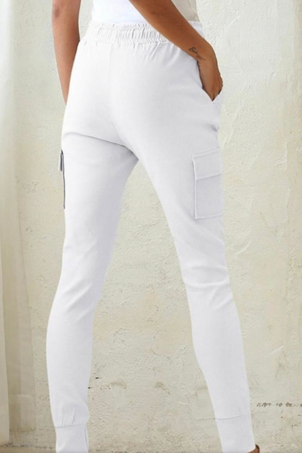 Esley White Jogger Pant - Front Full Image