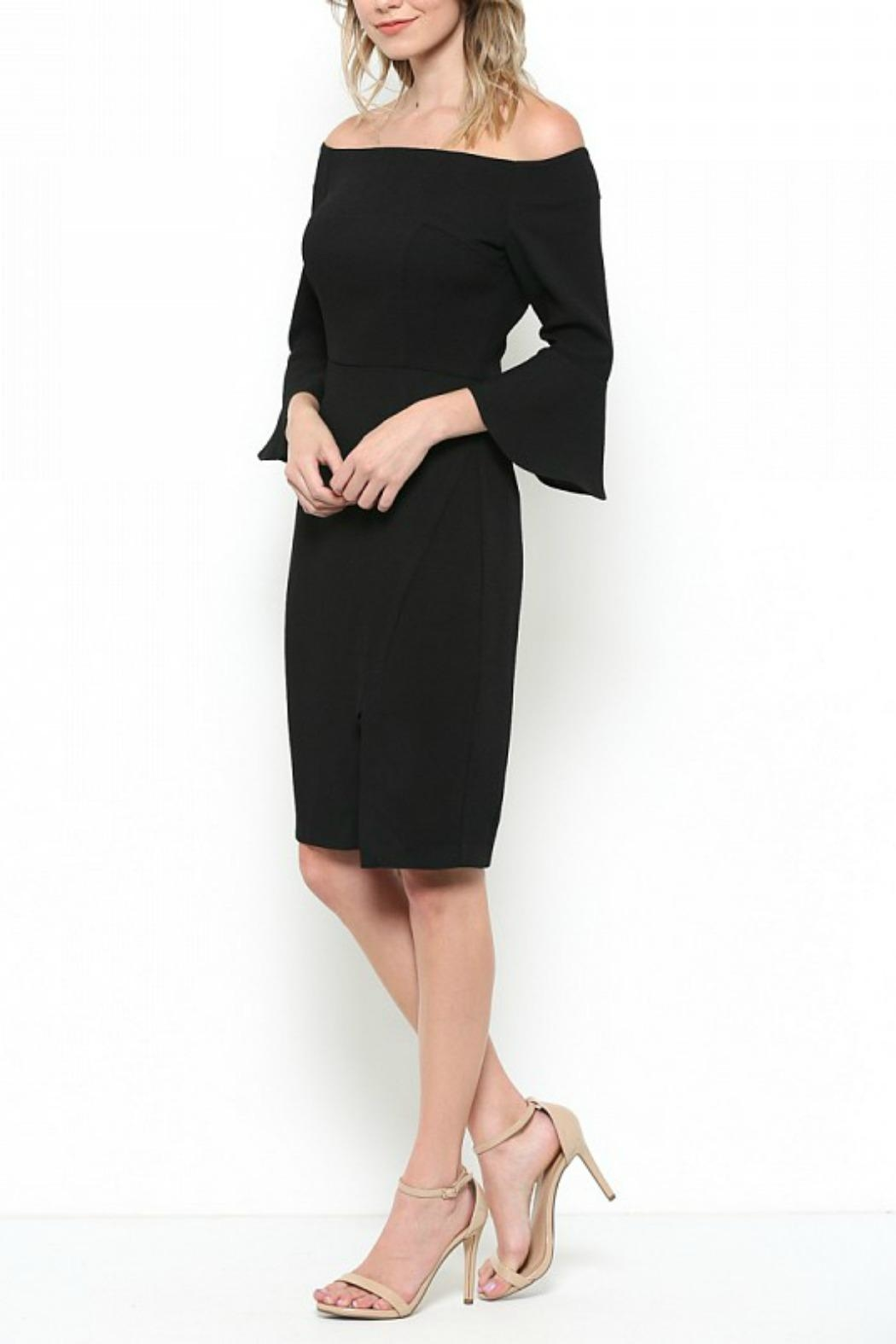 Esley Collection Bell Sleeve Dress - Side Cropped Image
