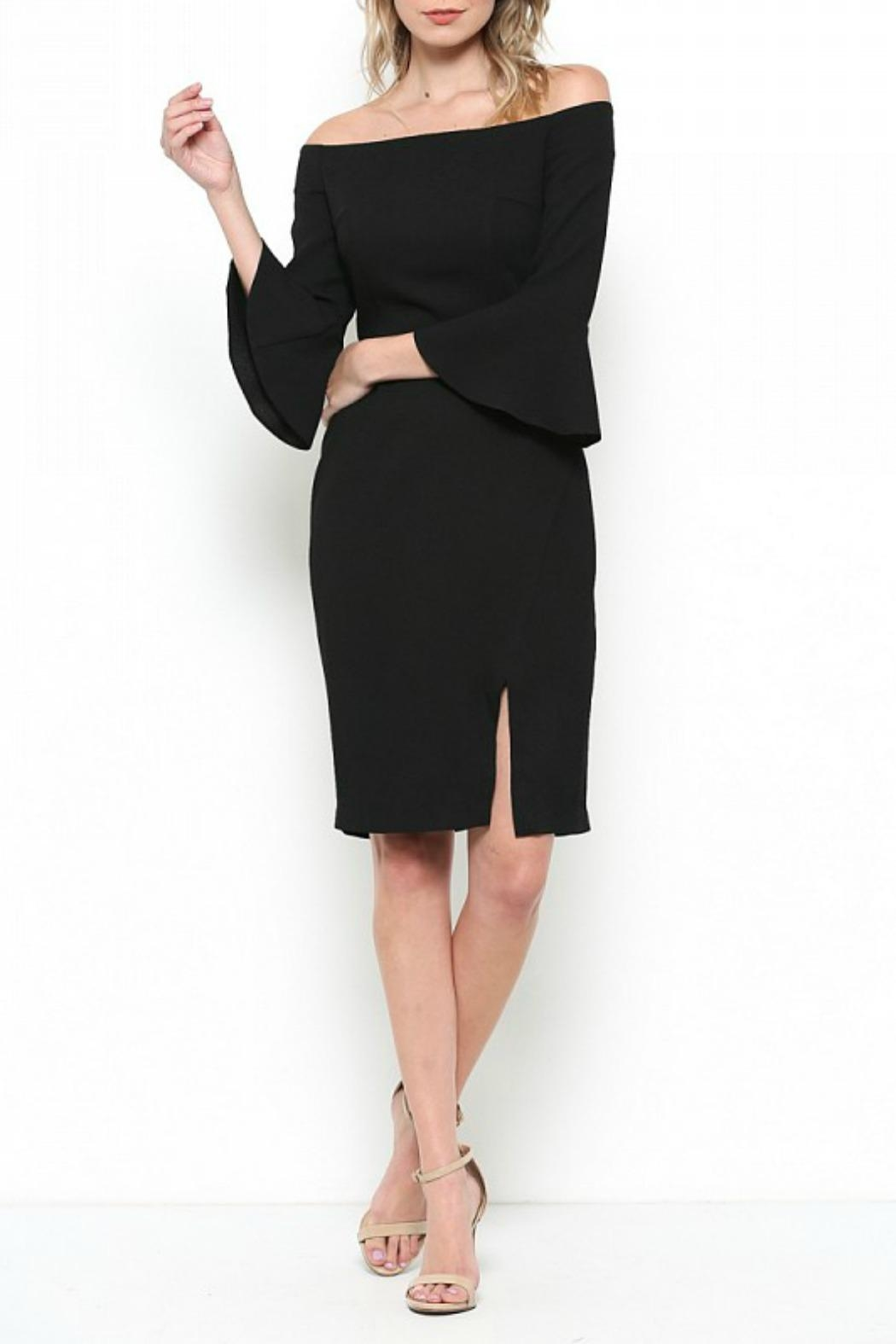 Esley Collection Bell Sleeve Dress - Front Cropped Image