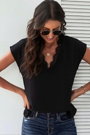 Esley Collection Black Lace Top - Product Mini Image