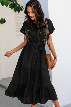 Shoptiques Product: Black On The Town Layered Midi