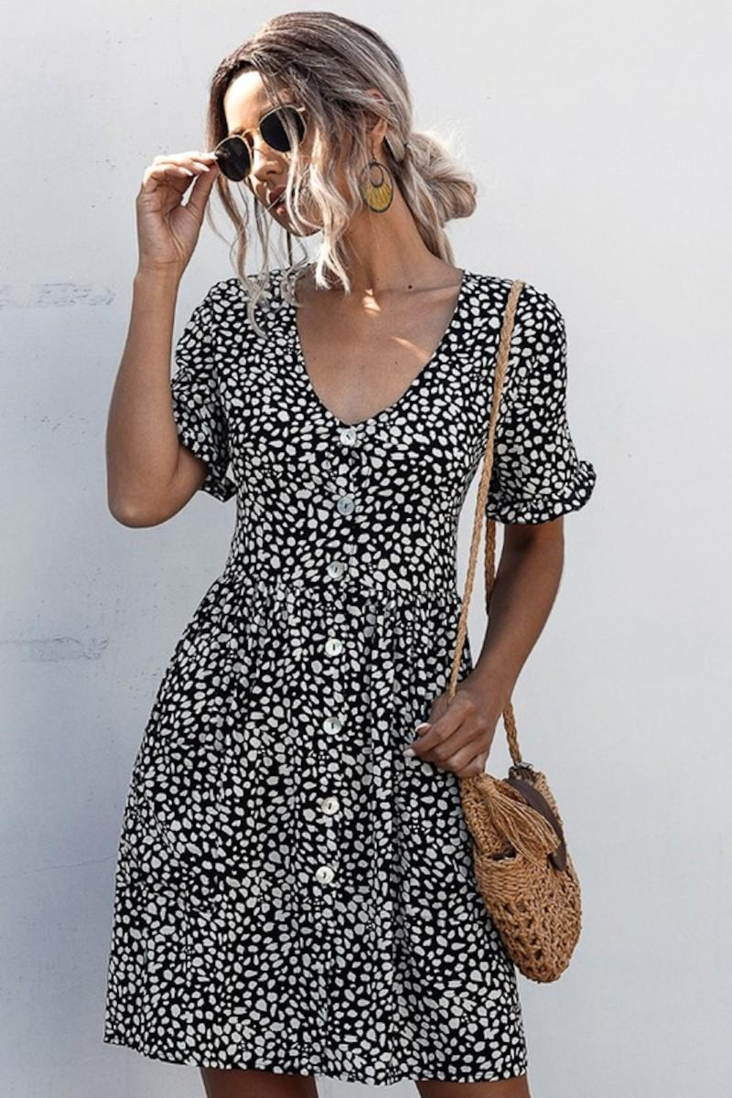 Esley Collection Black Spotted Pocket Dress - Front Full Image