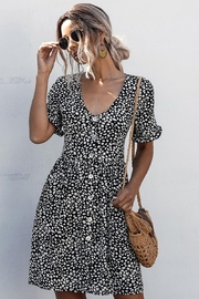 Esley Collection Black Spotted Pocket Dress - Front full body