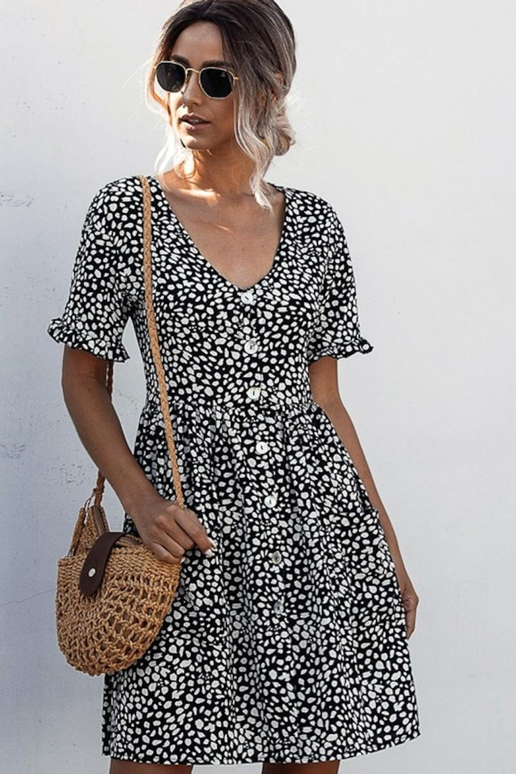 Esley Collection Black Spotted Pocket Dress - Back Cropped Image