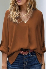 Esley Collection Blousy v Neck - Product Mini Image