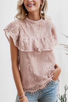 Esley Collection Blush Lace Detail Blouse - Product List Image