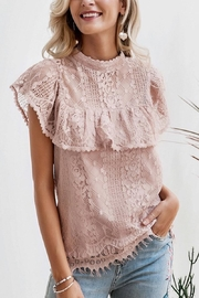 Esley Collection Blush Lace Detail Blouse - Product Mini Image