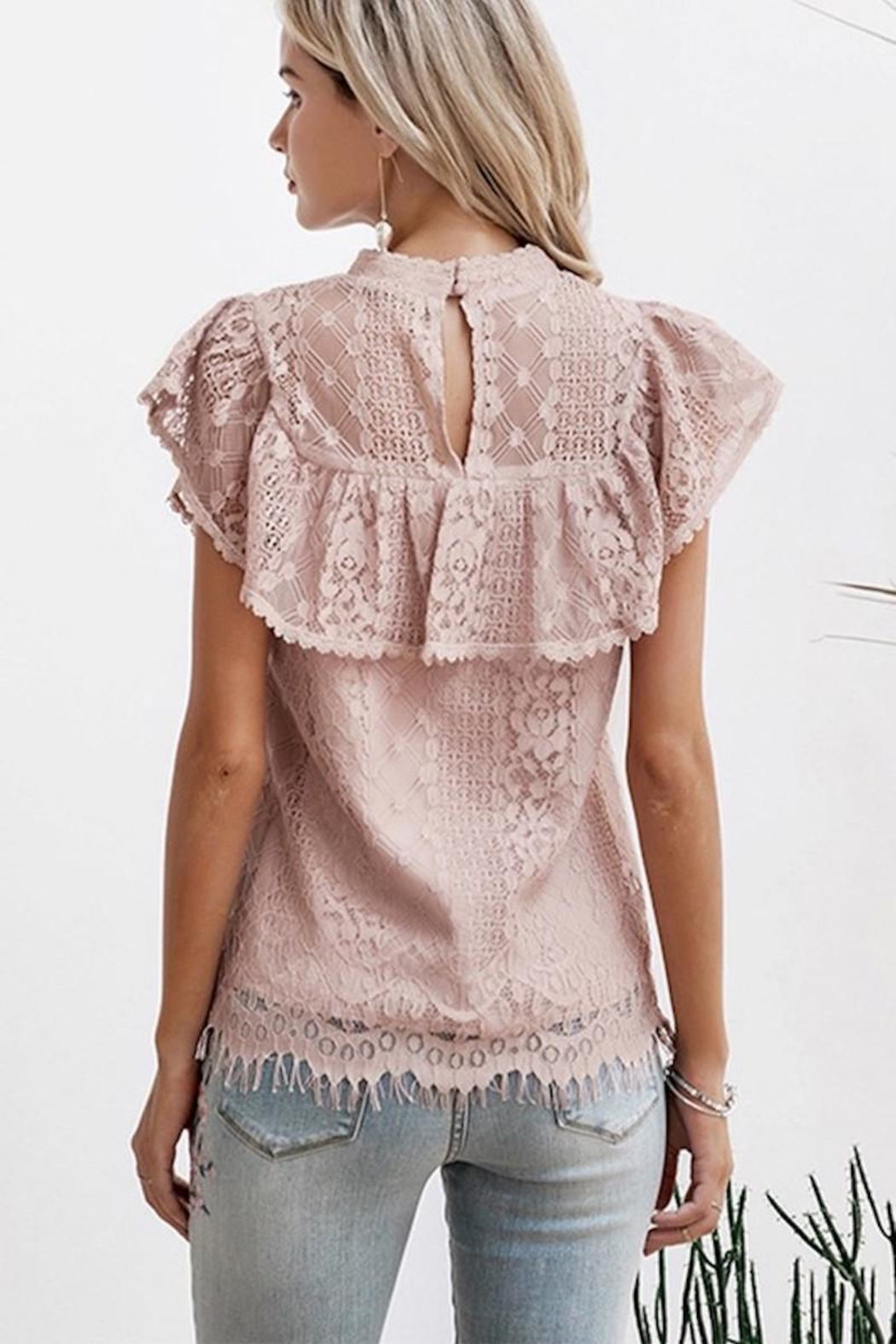 Esley Collection Blush Lace Detail Blouse - Side Cropped Image