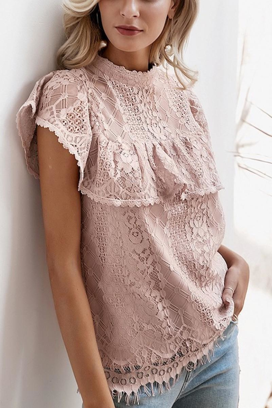 Esley Collection Blush Lace Detail Blouse - Front Full Image