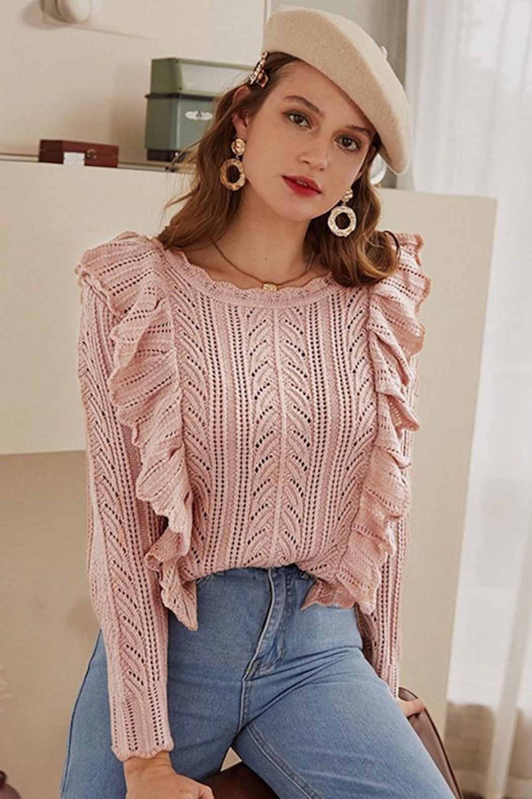 Esley Collection Blushing Over You Sweater - Side Cropped Image
