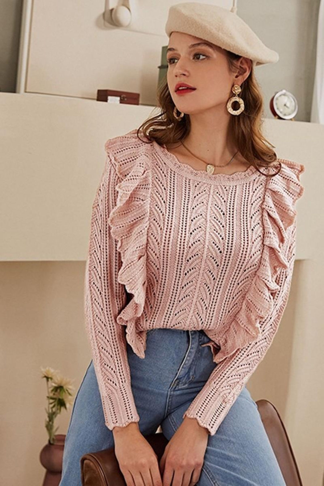 Esley Collection Blushing Over You Sweater - Back Cropped Image
