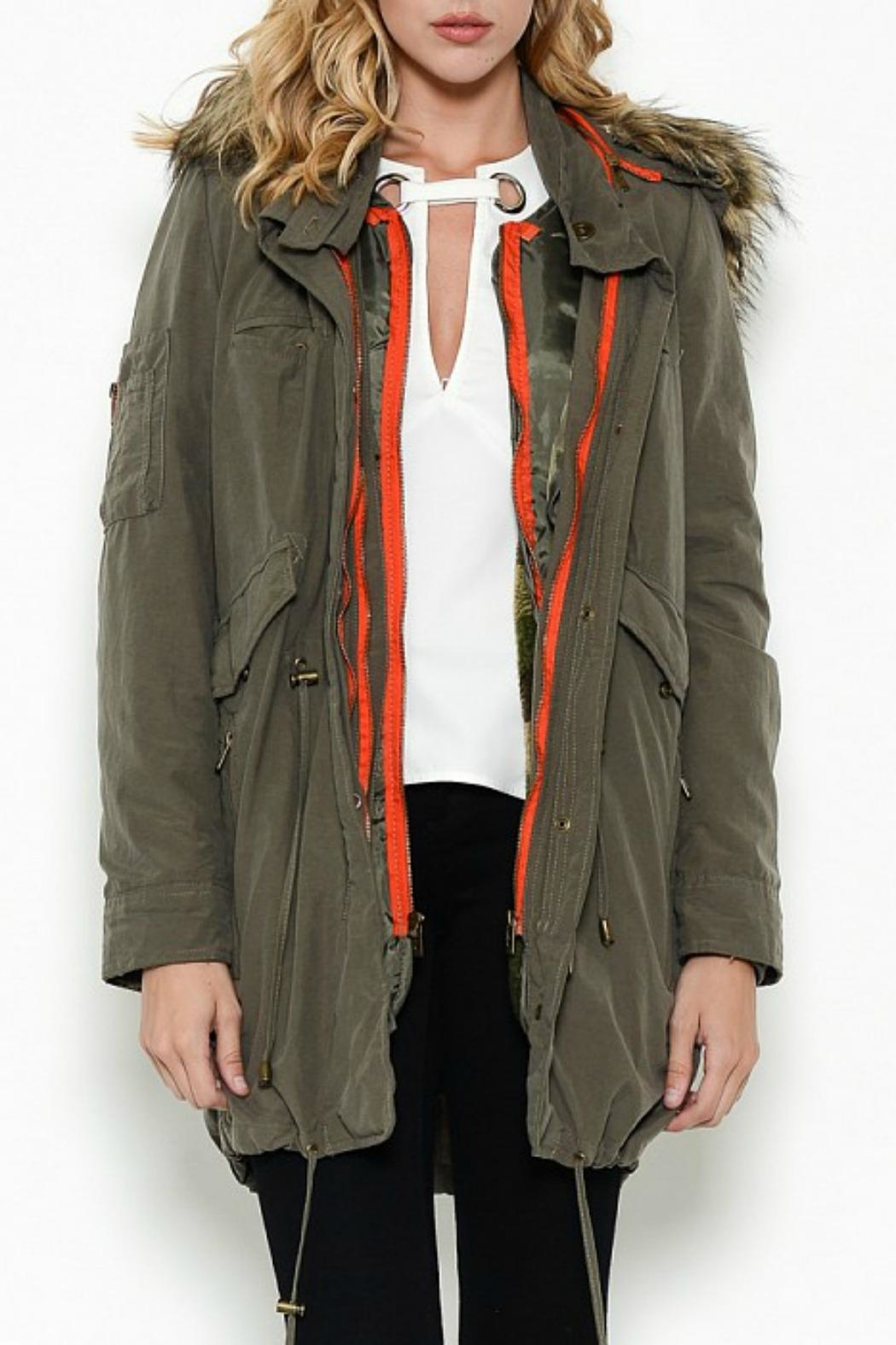 Esley Collection Olive Cargo Parka - Front Cropped Image